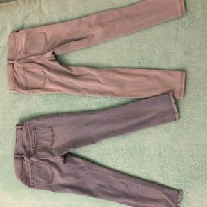 Two light wash jeggings.